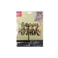 Acrylic Happy Birthday Cake Topper Gold