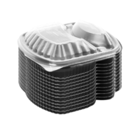 2 Compartment Wide Disposable Plastic Food Container With Lid x 12